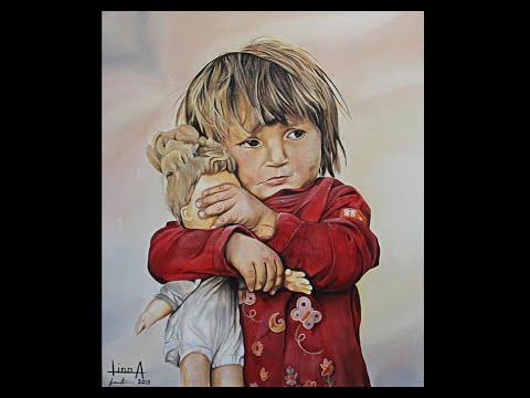 Realistic Child Acrylic Portrait - Lost Innocence Syria