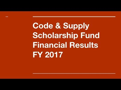 Code & Supply Scholarship Fund 2017 financial results and 2018 goals