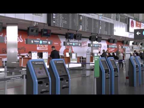 Check in  at Terminal 2A , at Budapest's Ferenc Liszt Airport, Hungary