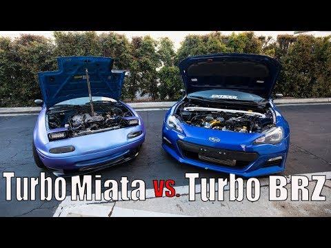 Turbo Miata vs. Turbo BRZ STREET RACING