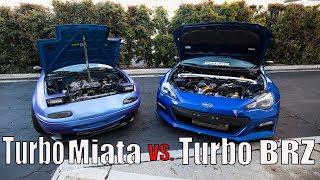 homepage tile video photo for Turbo Miata vs. Turbo BRZ STREET RACING