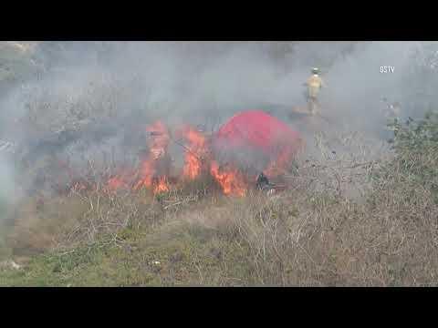 San Diego: Vegetation Fire Breaks Out at Homeless Encampment 09302018