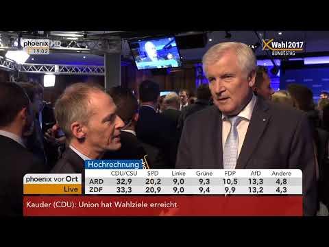 Bundestagswahl 2017: Horst Seehofer gibt Interview zu vorläufigen Wahlergebnissen am 24.09.2017