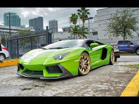 Supercars Arriving - Exotic Car Showdown Miami - Lamborghini Aventador SVJ Ferrari 488 GTB Mansory
