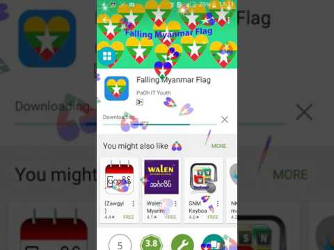 Falling Myanmar Flag & PaOh Flag Android App