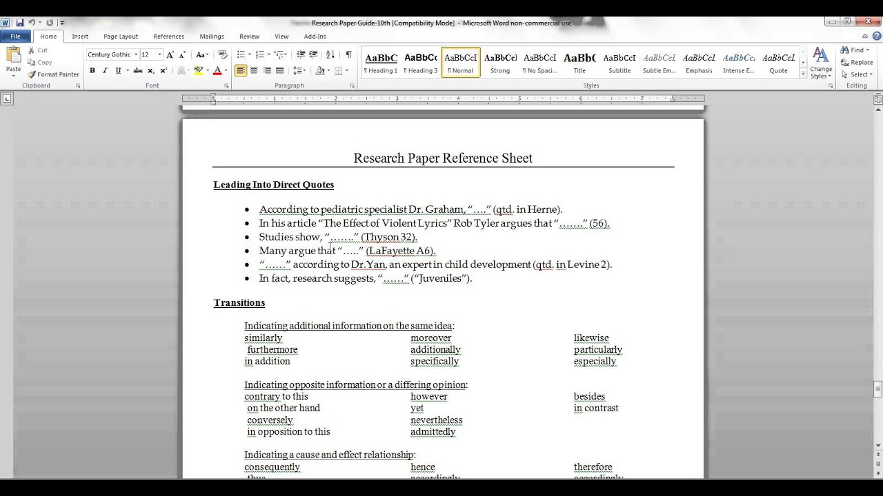 research paper transitions