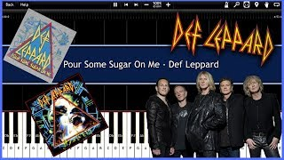 Pour Some Sugar On Me - Def Leppard (Synthesia) [Tutorial] [Instrumental Video] [Download]