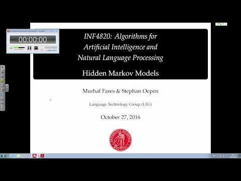 Hidden Markov Model (Lecture 9; October 18, 2017)