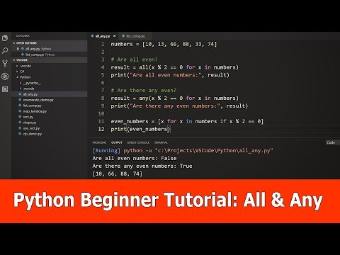 Python Beginner Tutorial : All, Any & List Comprehension thumbnail