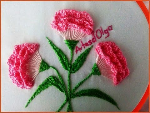 Hand Embroidery: Carnation Flowers - Step By Step | Flores De Clavel