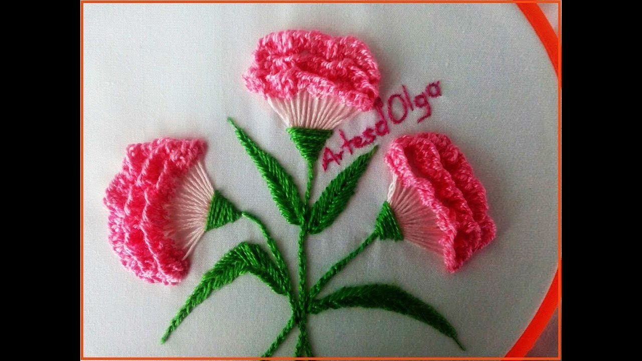 Hand embroidery carnation flowers step by flores