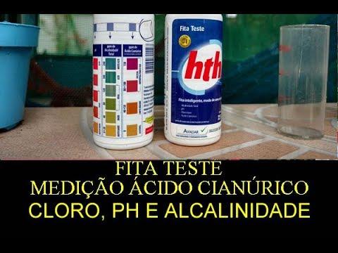 Medição ácido cianúrico, cloro, PH e Alcalinidade -  Fita Teste