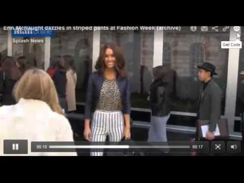 Erin McNaught Dazzles In Striped Pants At Fashion Week