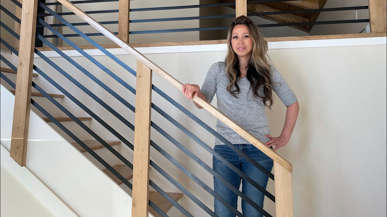 DIY Staircase Railing   Horizontal Metal and Wood for Modern Farmhouse Style