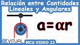 Relación entre cantidades lineales y angulares ejemplo 2 de 3 | Movimiento circular - Vitual