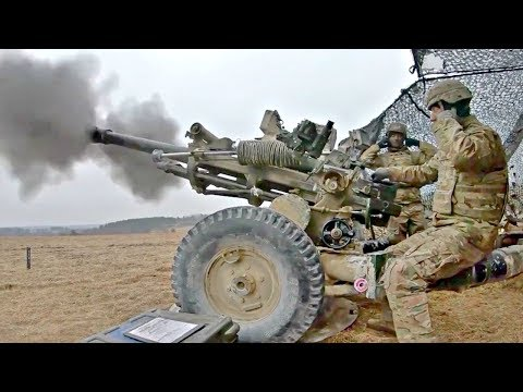 US Army Artillery Fire Very Powerful M119A3 Lightweight Howitzer | GoPro footage With Slow Motion