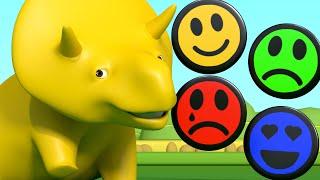 Aprender com o Dino -  Aprenda cores com carinhas sorridentes - Aprender em português 👶