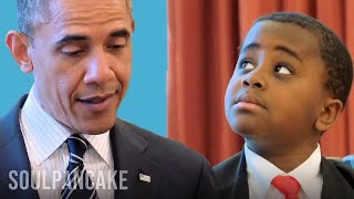 Repeat youtube video Kid President meets the President of the United States of America