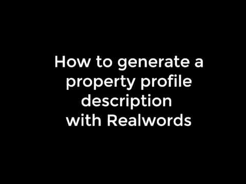 Generating a property profile with the draft version of Realwords - by We Promote