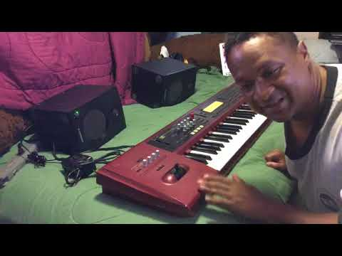 Kris Nicholson testing out his Korg Karma for the first time