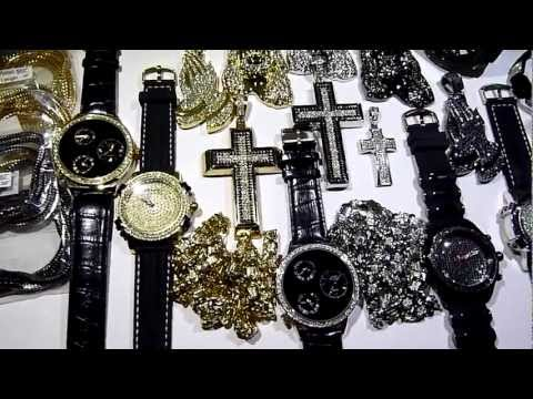 (SOLD) $395 23 piece WHOLESALE DEAL! Hip-Hop/Cross/Chain/Watch/Bracelet! LAB MADE JEWELRY