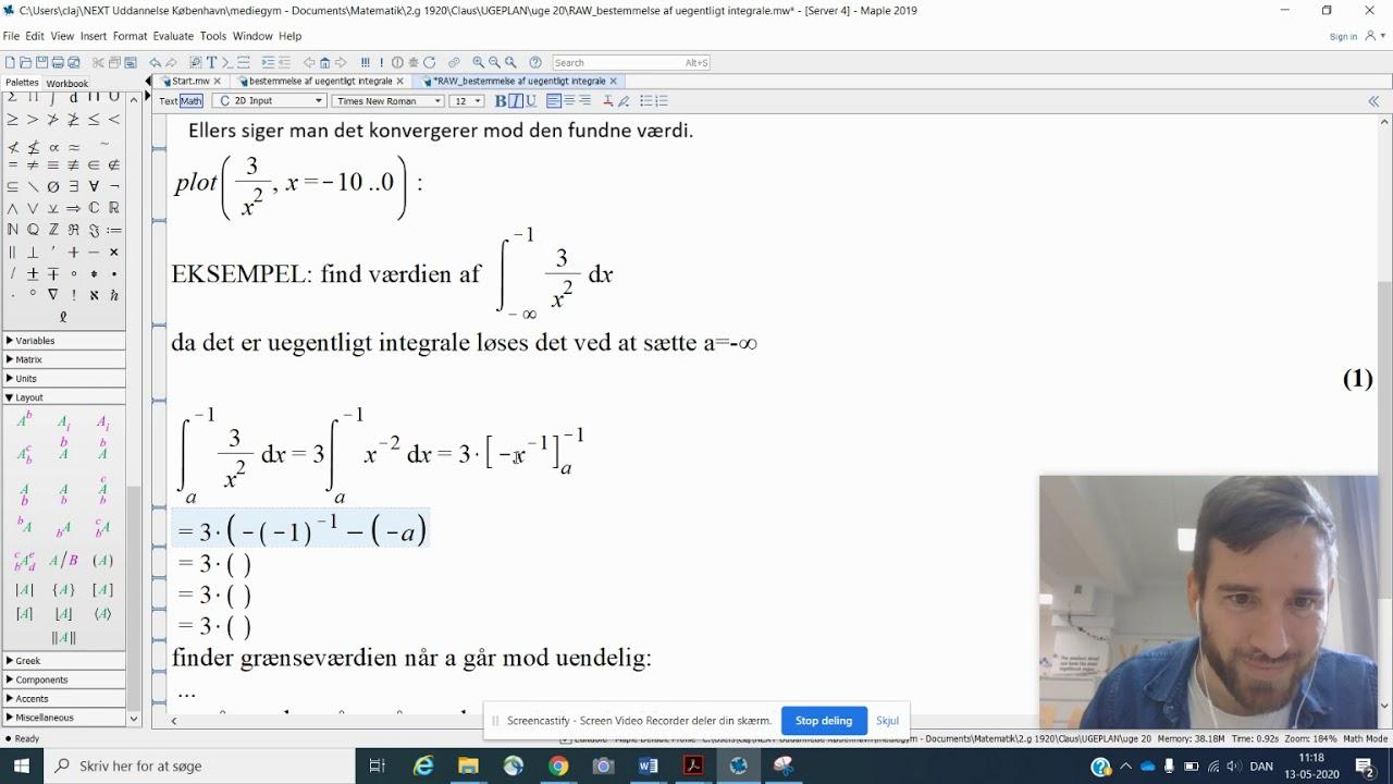Beregning af uegentligt integral