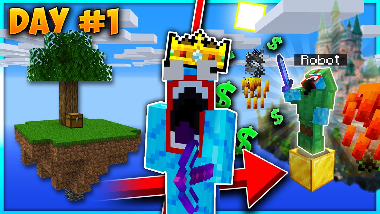 I BEAT THE GAME On DAY 1! | Minecraft Skyblock