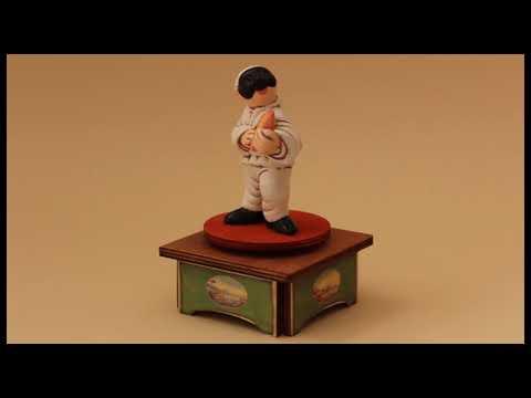 Carillon da collezione in legno - Pulcinella e Tamburello, Melodia: TORNA A SORRENTO