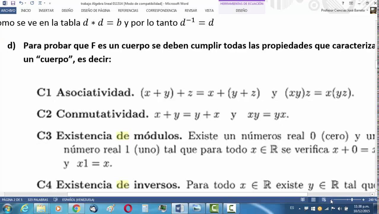 Algebra Abstracta Estructuras Algebraicas Grupos Cuerpos Asociativas Conmutativas Inversos