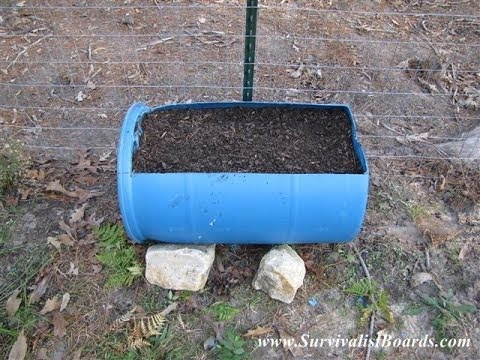 Raised bed garden from a barrel YouTube
