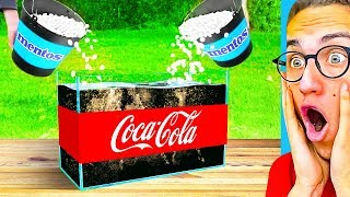 Reacting To THE BIGGEST MENTOS vs. COKE EXPERIMENT Challenge! (Satisfying Video)