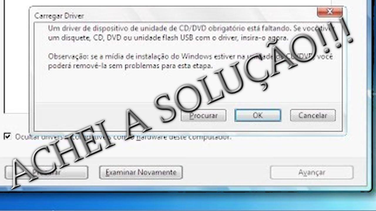 instalacao windows 7 erro driver faltando