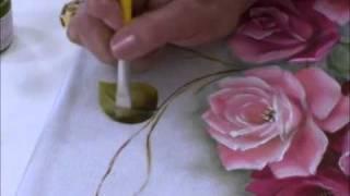 Pintura de rosas e folhas