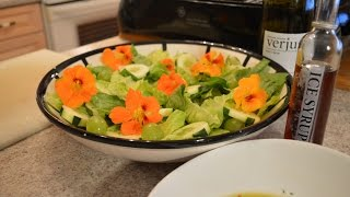 How To Make Romaine Salad With Cucumbers, Grapes & Nasturtium Flowers: Cooking With Kimberly