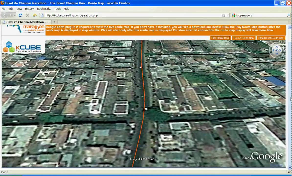 give life great run chennai marathon 2009 live google earth route map