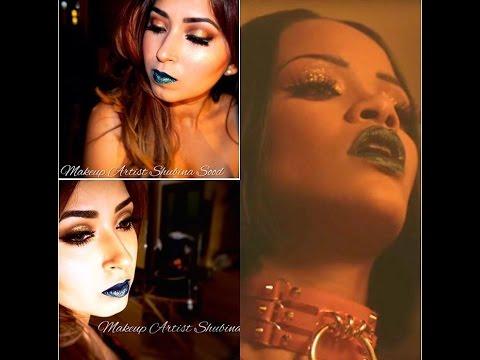 rihanna-inspired-work-makeup-|-gold-smokey-eyes