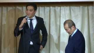 Former WBA Middleweight Champion Shinji Takehara is making a speech...