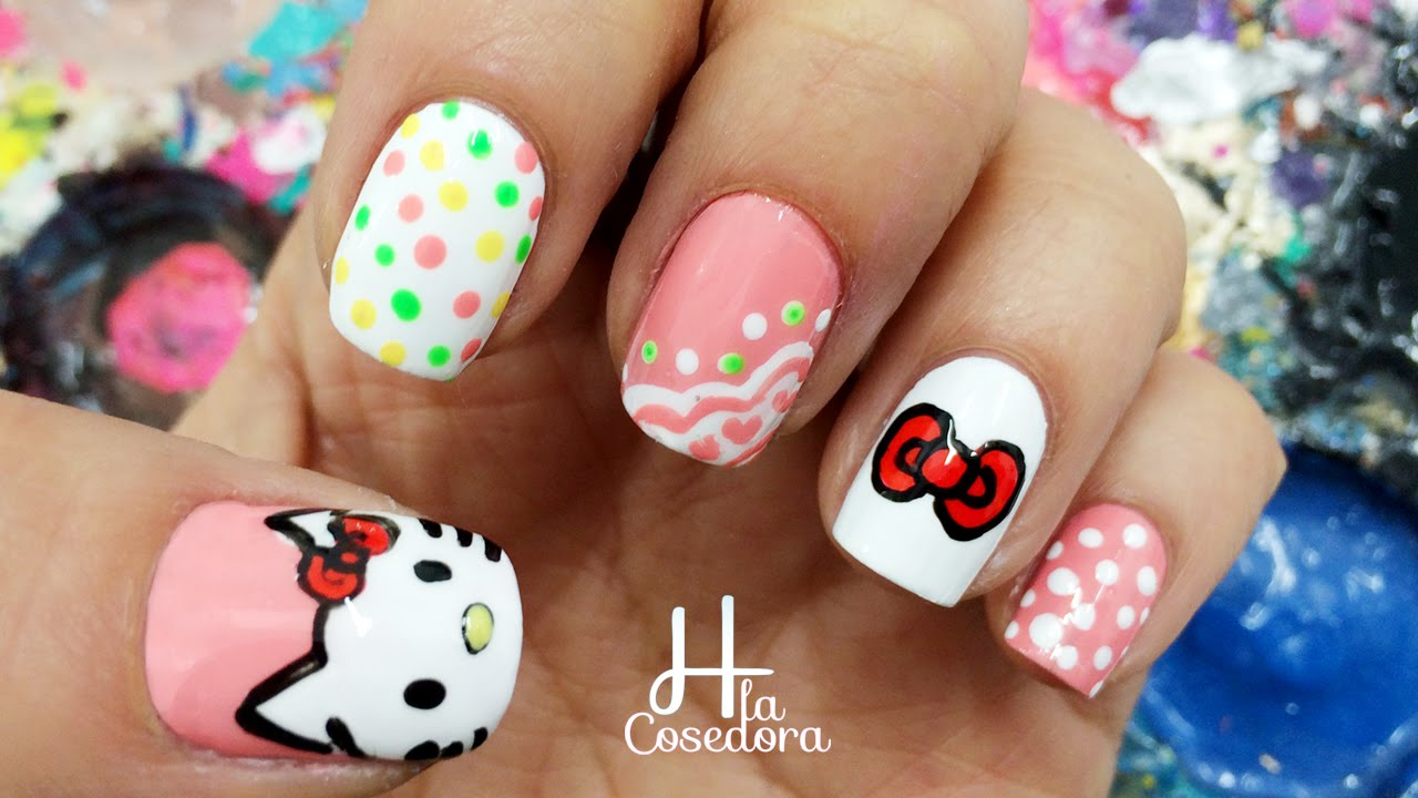 Decoracion de uñas Hello Kitty - Hello Kitty Nail Art - YouTube