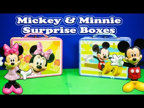 Assistant Opens Mickey And Minnie Surprise Lunch Boxes And Toys