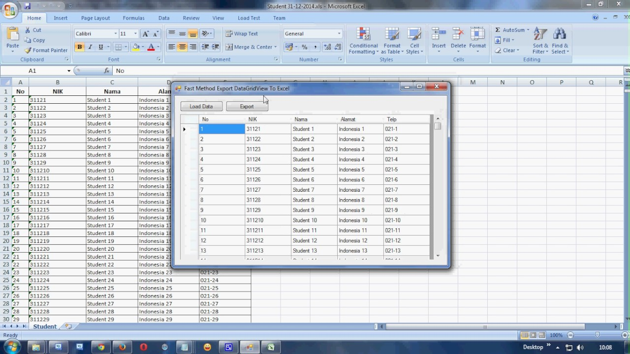 how to export data from listview to excel in vb.net