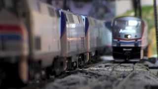 Some of My HO Scale Amtrak Trains In Action! 8.11.14
