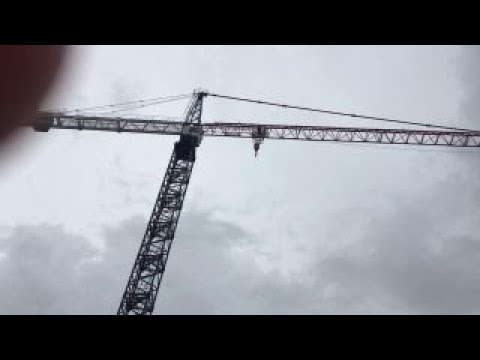 Miami construction cranes spin in Hurricane Irma's winds