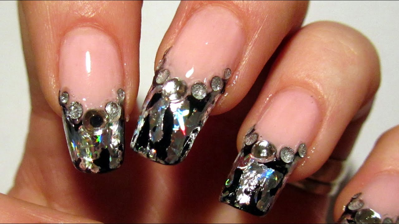 Pink Black And Silver Foil Design For New Year 2012 Nail Art Tutorial Youtube
