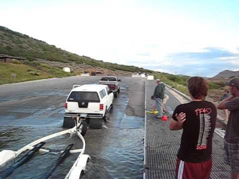 Sunken vehicle at Elk Creek Marina on Blue Mesa reservoir in Colorado