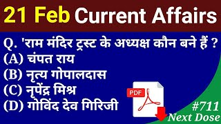 Next Dose #711 | 21 February 2020 Current Affairs | Daily Current Affairs | Current Affairs In Hindi