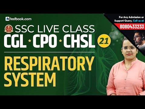 Respiratory System for SSC CPO Biology | SSC Live Classes GS Day 21 | SSC CGL & CHSL 2019