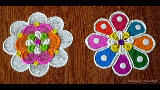 Easy techniques to draw beautiful flower rangoli designs | Easy rangoli by Poonam Borkar
