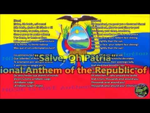 Ecuador National Anthem with music, vocal and lyrics Spanish w/English Translation