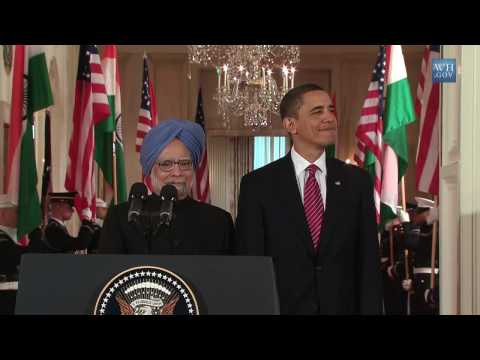 Barack Obama  Welcomes  Manmohan Singh