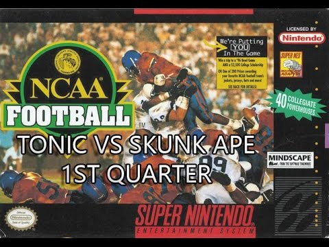 SNES Classic: NCAA Football 1994 - Tonic vs SkunkApe 1st Quarter
